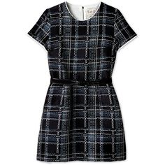 Sea NY Belted Plaid Dress ($219) ❤ liked on Polyvore featuring dresses, vestidos, plaid, tops, short cap sleeve dress, straight dress, genuine leather dress, fitted dresses and plaid dress