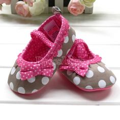 New Baby Girls Shoes Polka Dots Soft Sole Skidproof 0-12Months Kids Shoes Bowknot