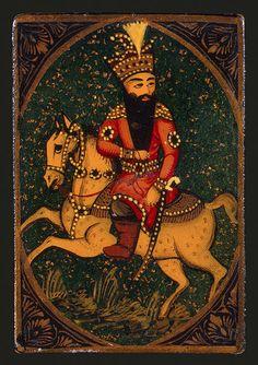 playing card fath ali shah riding a horse  19s