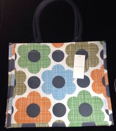 Orla Kiely Flower Juco Tote Bag Tesco 2015 Shopper Blue White Gift Multi Green #OrlaKiely