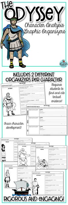 Character analysis graphic organizers for Homer s epic poem, quot;The Odyssey. Perfect for middle school and high school English language arts class. Teaching Literature, Teaching Reading, Learning, Education English, Elementary Education, High School English, English Class, High School Classroom, Classroom Ideas