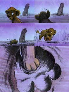 Lion King storyboards-juxtaposition of the smaller paw into the larger paw print conveys the message clearly. colors are harmonious to show the night scene.