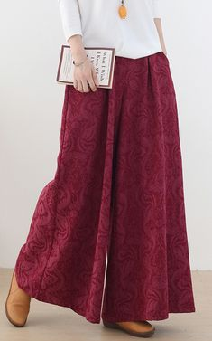 Autumn and winter Retro Red jacquard thickened women's wide leg pants Linen Pants Women, New Pant, Elastic Waist Pants, Summer Pants, Striped Linen, Cotton Pants, Wide Leg Pants, Casual Pants, Midi Skirt