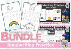 Printable handwriting practice book and write & wipe mats. Includes the alphabet and numbers up to 10. All Australian fonts included.