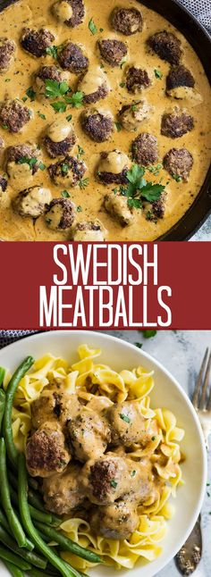 Swedish Meatballs- made with a combination of pork and beef then simmered in a creamy brown gravy.