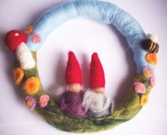 Felted Gnome Wreath - Waldorf Inspired - by radishandruth on madeit