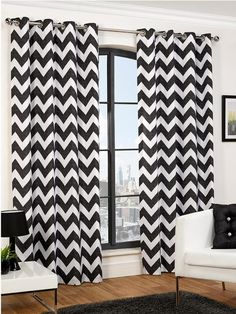 Hamilton McBride Chevron Eyelet Curtains | very.co.uk Black and white zigzag chevron monochrome curtains