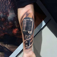 Steely Silver Microphone Tattoo Mens Forearms