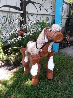 Smaller flower pot horse, I used 3 inch terra cotta pots for the horses legs.