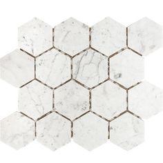 "Parvatile Carrara Hexagon 3"" x 3"" Stone Mosaic Tile in White Honed"