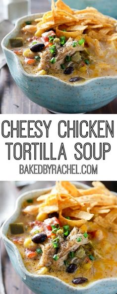 Slow cooker cheesy chicken tortilla soup recipe from Rachel. Slow cooker cheesy chicken tortilla soup recipe from Rachel {Baked by Rachel} A comforting meal easy enough for any day of the week! Best Soup Recipes, Crockpot Recipes, Chicken Recipes, Cooking Recipes, Dinner Crockpot, Chicken Soups, Milk Recipes, Best Tortilla Soup Recipe, Cooking Tips