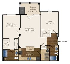 Two Bedroom 1184 sq. ft.