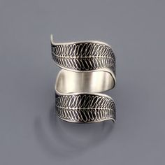 Curled Fern Ring etched sterling silver ring by lisahopkins