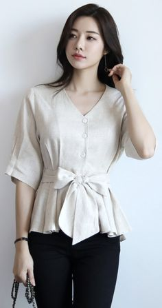 Organic Linen Ribbon Waist Tie V-Neck Blouse - Clothes blouse summer - Korean Blouse K Fashion, Trendy Fashion, Korean Fashion, Fashion Outfits, Fashion Tips, Womens Fashion, Korean Blouse, Jugend Mode Outfits, Stylish Work Outfits