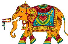 Painted India Elephant Pattern Cross by LosAngelesNeedlework