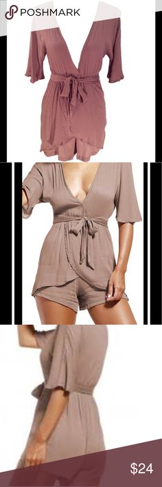 "🌴 Wrap Front Romper 🌴 Wrap Front Romper in taupe/beige. Features a wrap belted tie front and elastic waist. Material: 100% polyester. Size Small. Measurements approx. Waist: 21""-32"" (elastic), Length:27 1/2"". Other"