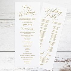 Gold Wedding Programs Wedding Program Template by KarlyKDesignShop