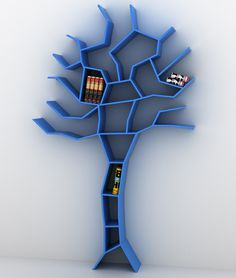 blue tree bookshelf