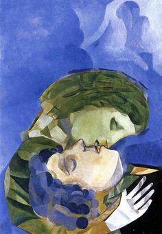 1916  Marc Chagall. Les Amoureux huile sur toile 70, 7 x 50 cm collection particulière.  #Art #Francia #Fauvismo @deFharo
