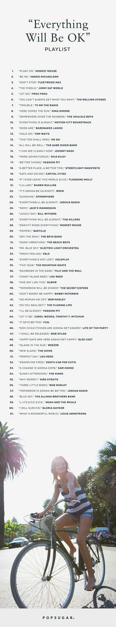 """Songs That Say """"Everything Will Be OK"""" This playlist will make you smile and remind you that whatever is going on, it too shall pass.This playlist will make you smile and remind you that whatever is going on, it too shall pass. Your Smile, Make You Smile, Ok Song, Everything Will Be Ok, Mood Songs, Music Mood, Song Playlist, Song List, List Of Songs"""