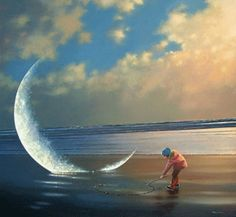 Paintings by Jimmy Lawlor: Jimmy Lawlor is an Irish artist from the town of Westport which is in the west of Ireland.At first working in the field of Illustration, Jimmy picked to dedicate the grea Mark Keller, Foto Effects, Jimmy Lawlor, Good Night Moon, Beautiful Moon, Moon Art, Whimsical Art, Surreal Art, Photos