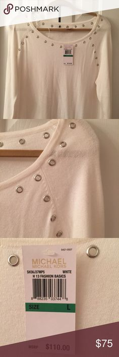Michael Kors sweater with decorative grommets Brand new. Tags attached. Winter white MK sweater. Grommets at neck. Very cute. Very versatile. Dressy or casual. Michael Kors Sweaters Crew & Scoop Necks