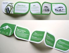 I like the size and the design in this brochure, it like a leaf, however they use green color it means save your environment, however the both side was different from each other with use opposite colors and it was nice .  https://www.pinterest.com/pin/300193131391473214/