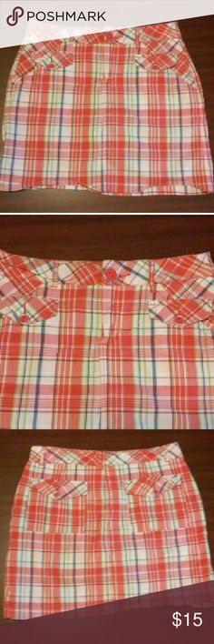 """PICNIC SKORT! Super cute plaid skort. Two front and two back pockets, belt loops and pink button accents. 98% cotton and 2% spandex. Length is 17"""" waist is 31"""" around. Worn once! EUC! Shorts Skorts"""