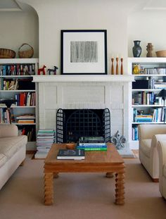 1000 images about faux built ins on pinterest built ins for Bookshelves next to fireplace