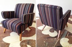 Look at the way this beauty cleaned up! A mid-century arm chair for our Kentucky 'whole house' project. We touched up the wooden legs and upholstered it in a Paul Smith stripe for Maharam. Wooden Study Table, Chair Design Wooden, Mid Century Armchair, Decoration, Home Projects, Mid-century Modern, Upholstery, Paul Smith, House