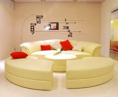 Modern Circle 5Pc Leather Living Room Set