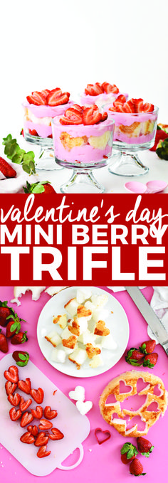 Valentine\'s Day Mini Berry Trifle | Valentine\'s Day desserts, Valentine\'s Day treats, easy trifle recipes, homemade dessert recipes, berry trifle recipe || The Butter Half #berrytrifle #triflerecipe #valentinesday via The Butter Half || Delicious, Simple, & Fun Recipes for the Family