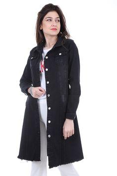 Kadin Cepli Uzun Siyah Kot Ceket 0618 2020 Siyah Kot Kot Ceket Moda Stilleri