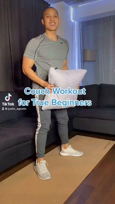 Gym Workout For Beginners, Fitness Workout For Women, Workout Videos, Couch Workout, Wall Workout, Easy Workouts, At Home Workouts, Senior Fitness, Physical Fitness