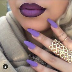 #purple #ombre #lip #nyx amethyst lip cream and a plum liner will help achieve this look!