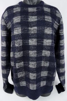 NWT J Crew Mens XL Buffalo Plaid Sweater Italian Wool Alpaca Blend Blue Gray LS #JCrew #Crewneck