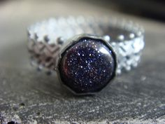 Blue Goldstone Crown Ring Oxidized Silver by JennKoDesign on Etsy, $40.00