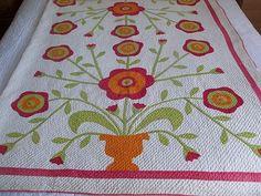 Detail, Beautiful RARE Large 4 Block 'Flower Pot' Antique Applique Quilt C 1850'S | eBay, hearts-n-stitches