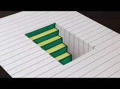 (8) How to Draw 3D Steps in a Hole - Line Paper Trick Art - YouTube
