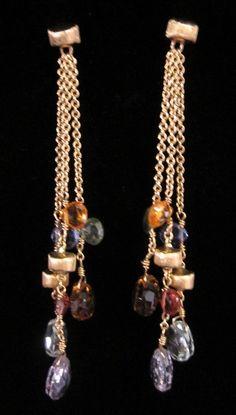 NEW MARCO BICEGO 18 Karat Yellow Gold Amethyst Citrine Quartz Dangle Earrings at www.ShopLindasStuff.com