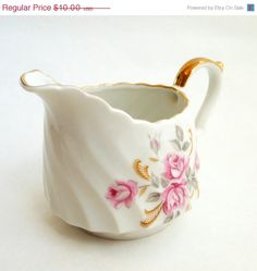 Mothers Day Sale Rose Lefton Creamer,  Lefton Moss Rose Pattern Creamer, White and Gold with Pink Roses, Shabby Chic, Hand Painted, Japan