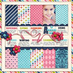 Currently scrapbook layout - love the blocking and the info down the middle!
