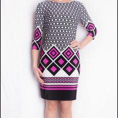 Joseph Ribkoff Geometric Dress Designed for Joseph Ribkoff's Spring collection, this geometric pattern shift dress has several different graphics and comes lined with a rear-zip closure as well as three-quarter length sleeves and knee-length hem. Joseph Ribkoff Dresses