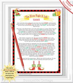 Items similar to RIGHT and LEFT Christmas Game with ELVES, White Elephant Game in a red lumberjack plaid design, Holiday Office Party Game, Family Game, on Etsy Left Right Christmas Game, Christmas Games For Family, Christmas Items, Family Games, Winter Christmas, Xmas Games, Christmas Prayer, Christmas Thoughts, Christmas Parties