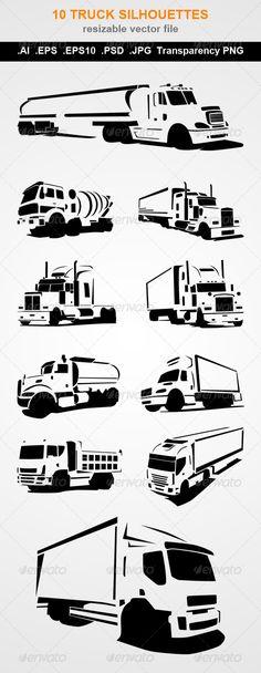 10 Truck Silhouettes  #graphicriver