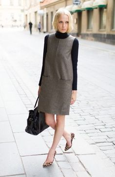 Turtleneck With Dress 2017 Street Style