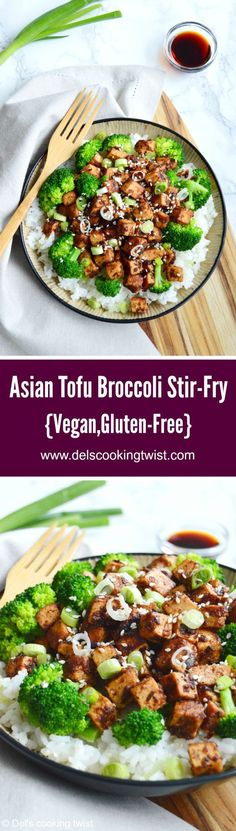 Asian tofu broccoli stir-fry - To all veggie lovers, here's a quick and easy stir-fry with crisp tofu and broccoli tossed in a sweet and savory sauce with garlic, ginger, and sesame seeds Delicious Vegan Recipes, Healthy Recipes, Drink Recipes, Healthy Salads, Amazing Recipes, Easy Recipes, Healthy Food, Tofu Broccoli Stir Fry, Vegetarische Rezepte
