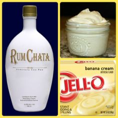 RumChata Banana Pudding Shots 1 small Pkg. Banana Cream pudding (instant, not the cooking kind) ¾ Cup Milk ¾ Cup RumChata 8oz tub Cool Whip Directions 1. Whisk together the milk, liquor, and instant pudding mix in a bowl until combined. 2. Add cool whip a little at a time with whisk. 3. Spoon the pudding mixture into shot glasses, disposable 'party shot' cups or 1 or 2 ounce cups with lids. Place in freezer for at least 2 hours