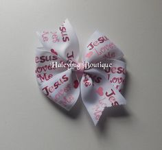 4 Inch Hair Bow Jesus Loves Me Girls Hair by HaleybugBowCreations  Click to view listing  #HaleybugBoutique #JesusLovesMe #hairbowsforgirls #girlshairbows #toddlerhairbows #girlshairclips #etsy #etsyshop
