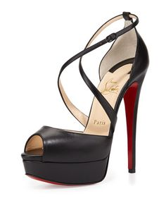 Cross Me Platform Red Sole Sandal, Black by Christian Louboutin at Bergdorf Goodman.